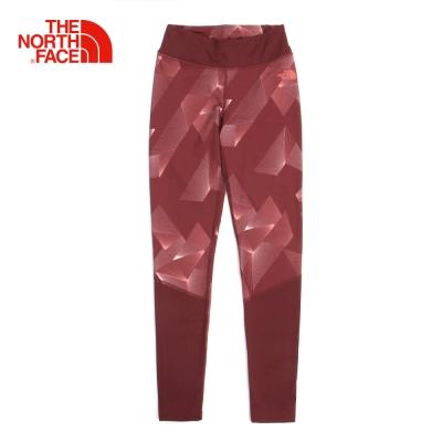 The North Face北面女款紅色吸濕排汗運動緊身褲