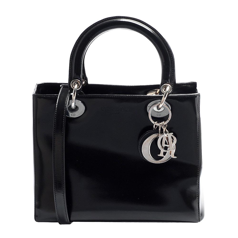 Dior 經典款Lady Dior系列亮面皮革銀色LOGO手提/肩揹兩用包(中-黑)