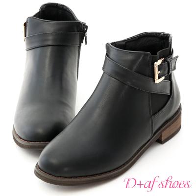 D+AF 個性首選.側鬆緊金屬釦環繞帶短靴*黑