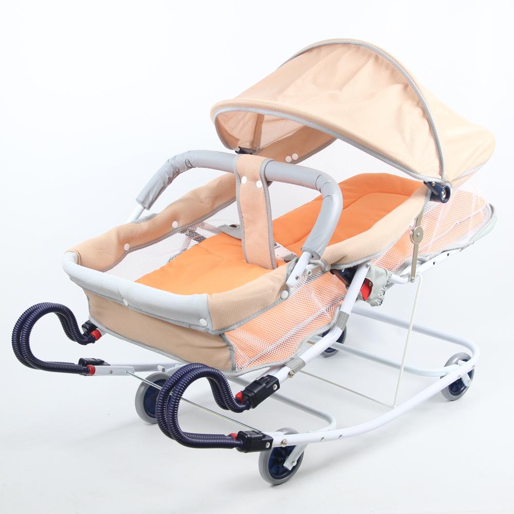 Babybabe 坐躺兩用雙管加寬型彈搖床(卡其色)-附蚊帳