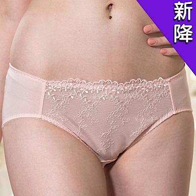 華歌爾 優雅花卉刺繡蕾絲M-2L中腰三角褲(甜美粉)