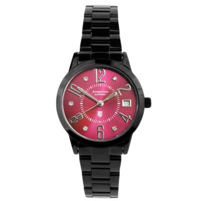 Arseprince 時尚新魅力晶鑽女錶-黑紅