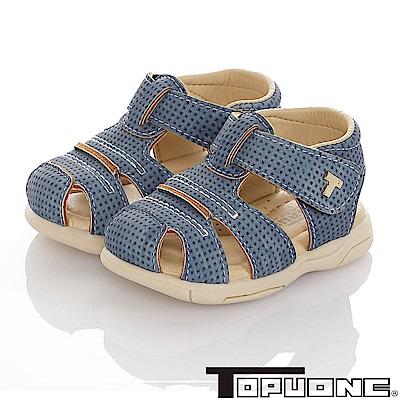 TOPUONE 傳統手工鞋高級超纖皮革防滑學步涼鞋童鞋-藍