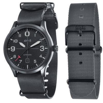AVI-8 飛行錶 FLYBOY 飛行男孩機械錶-黑/43mm