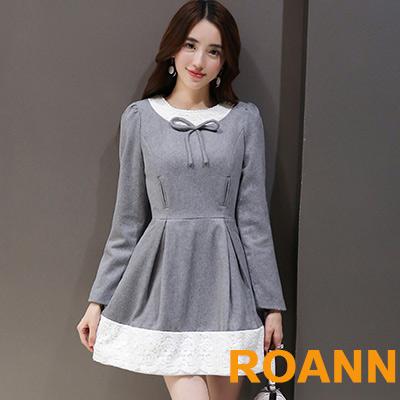 圓領蝴蝶結拼接蕾絲長袖洋裝 (灰色)-ROANN