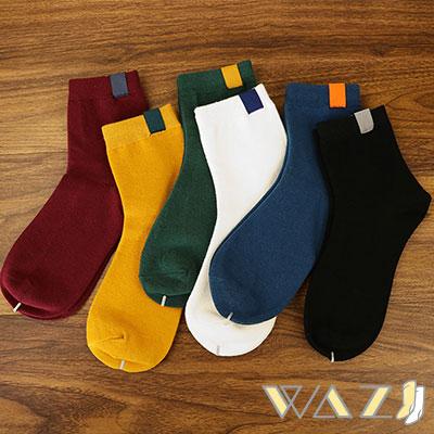 Wazi-純色小布標中筒襪 (1組五入)