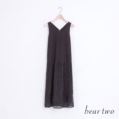 beartwo-優雅氣質蕾絲拼接背心裙-二色