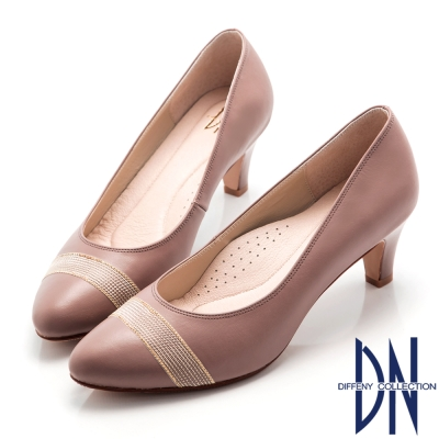 DN-氣質女伶-OL緞帶妝點全真皮跟鞋-藕紫
