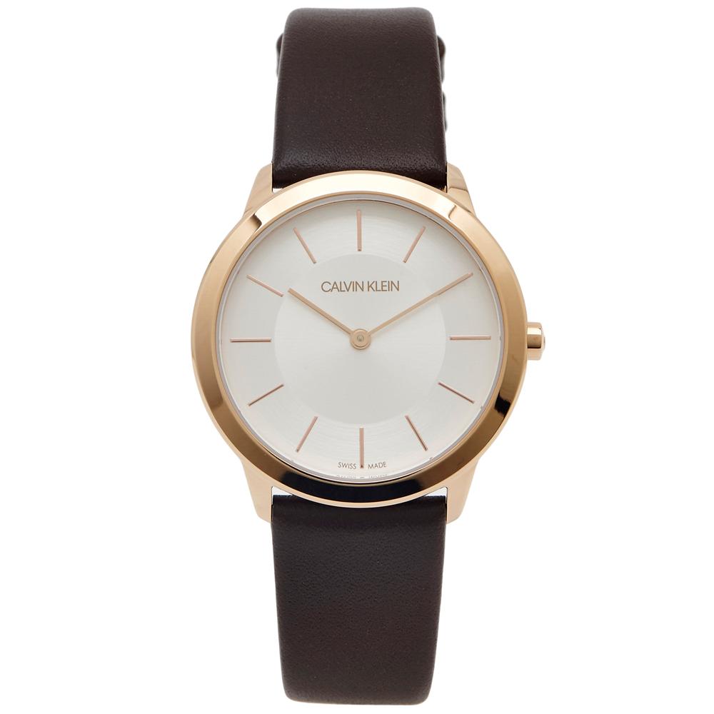 CK都會雅痞極簡女性手錶K3M226G6-銀面X玫瑰金框34mm