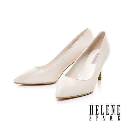 HELENE-SPARK-經典美型時尚尖頭素面羊皮高跟鞋-米
