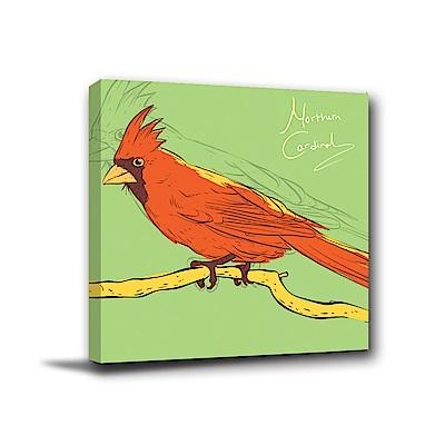 24mama掛畫-單聯式方形 掛畫無框畫 紅鸚鵡 40x40cm