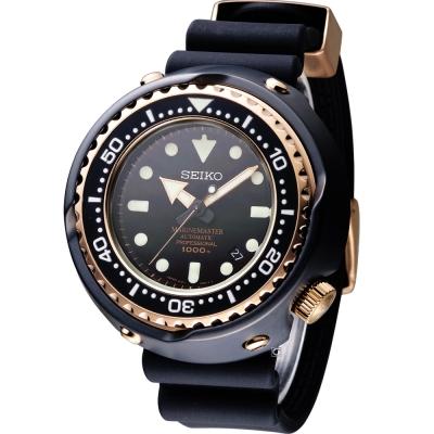 SEIKO PROSPEX 鮪魚罐頭專業潛水機械錶(SBDX014G)-黑x玫金/52mm