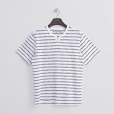 Hang Ten - 男裝 - 有機棉 開口V領竹節T恤 - 條紋藍