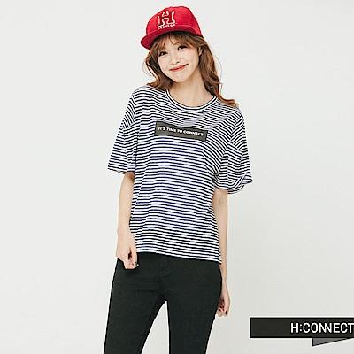 H:CONNECT 韓國品牌 女裝 - 條紋打摺袖T-Shirt-藍