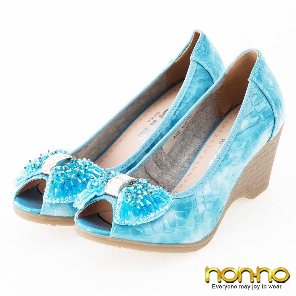 nonno 優雅氣質 鱷魚紋串珠蝴蝶魚口楔型鞋-藍