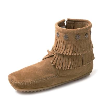 MINNETONKA-SIDE ZIP雙層麂皮流蘇踝靴-灰褐色