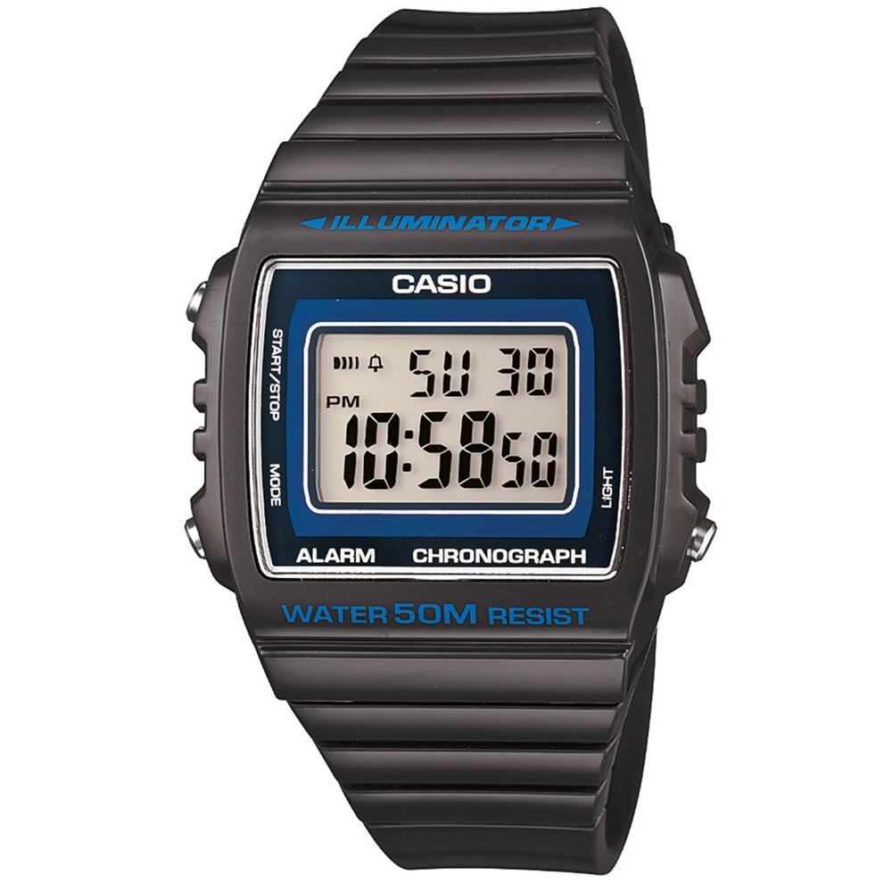 CASIO 超亮LED大螢幕方形數位錶(W-215H-8A)-沉穩灰/40mm
