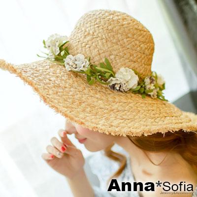 AnnaSofia 綠茵花香 拉菲草遮陽超寬簷淑女帽草帽(杏駝系)