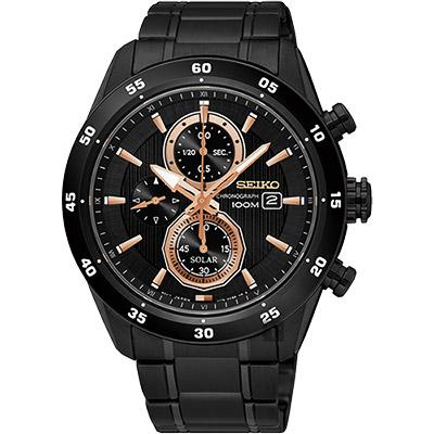 SEIKO精工 Criteria 零極限三眼計時腕錶(SSC545P1)-黑/44mm