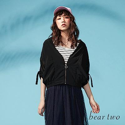 beartwo 透膚雪紡深V拉鍊造型夾克(二色)