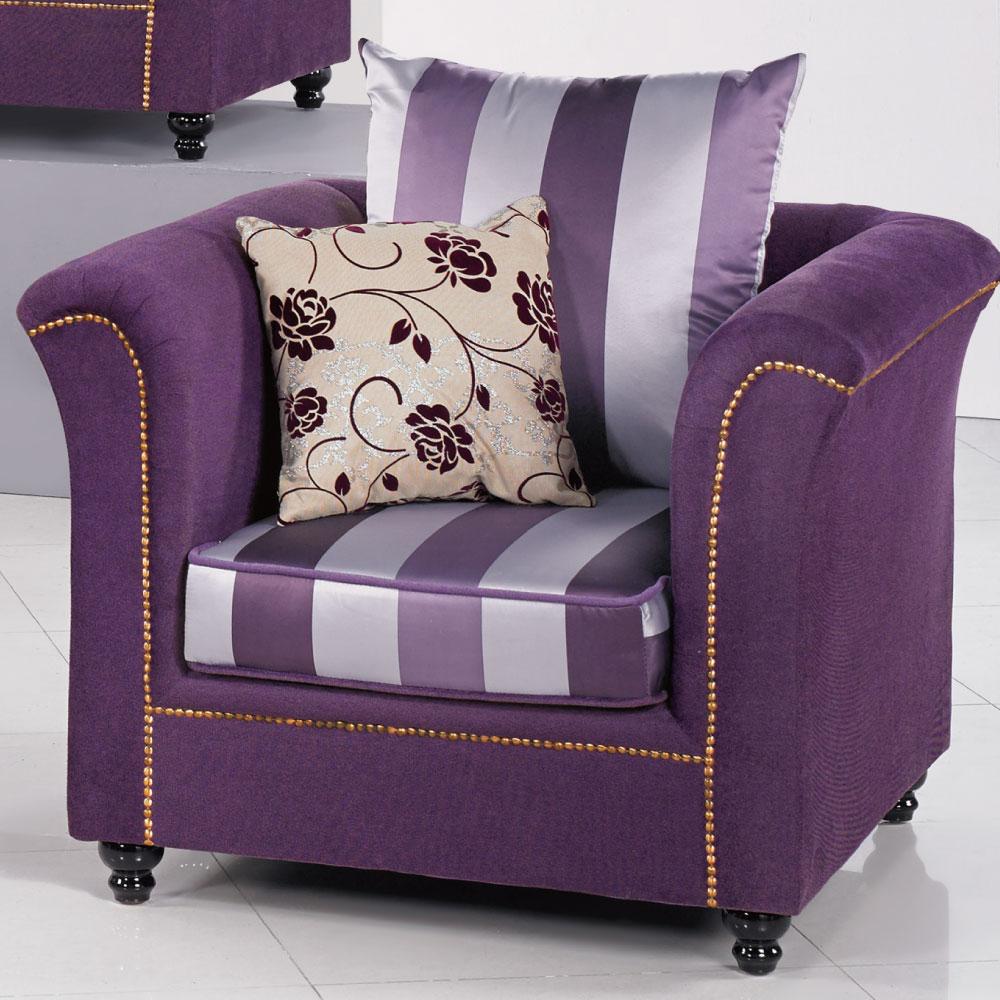品家居 珍雅紫色布面單人座沙發