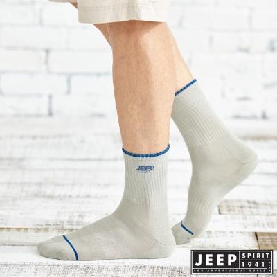 JEEP 經典LOGO中筒襪2雙組 (灰白藍、深藍灰)