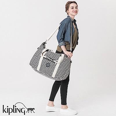 Kipling 手提包 黑白撞色格子-大