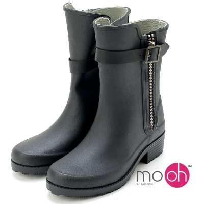 mo.oh輕量柔軟橡膠可摺拉鍊中筒雨鞋-黑色