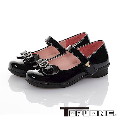 TOPUONE 傳統手工鞋廠水鑽減壓公主皮鞋童鞋-黑