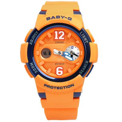 BABY-G 復古街頭運動球衣橡膠腕錶(BGA-210-4B)-橘x深籃框/43mm