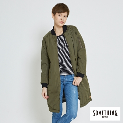SOMETHING-雙面穿飛行防寒長版外套-女-墨