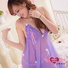 天使霓裳 俏麗小花‧薄紗連身性感睡衣 兩件組(淺紫)
