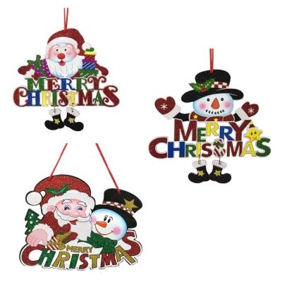 超Q聖誕雪人+聖誕老公公聖誕快樂英文字掛飾壁飾三入組