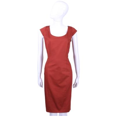 Max Mara 紅色U領短袖洋裝