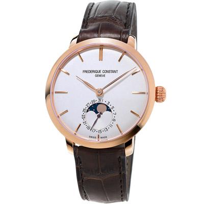 康斯登 CONSTANT 自製機芯超薄月相腕錶-咖啡色/38.8mm