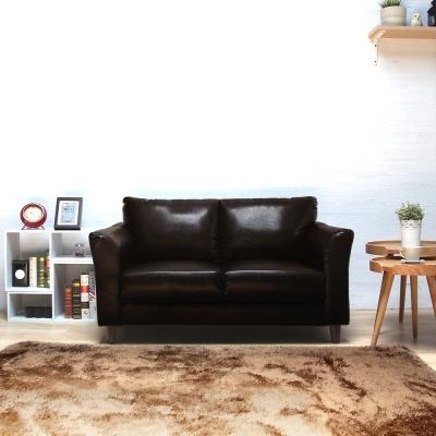 H&D Houston休士頓純樸雙人皮沙發-深咖啡色