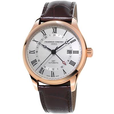 康斯登CLASSICS AUTOMATIC GMT腕錶-42mm/白x咖啡