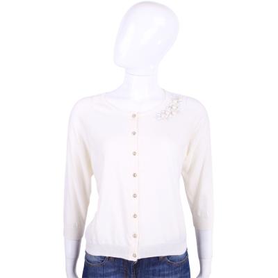 BLUGIRL 米白色珠飾七分袖針織外套