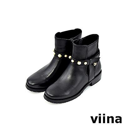 viina -都會系列-時尚牛皮珍珠皮帶短靴-黑