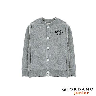 GIORDANO 童裝好日子刺繡棒球外套 - 03 中花灰