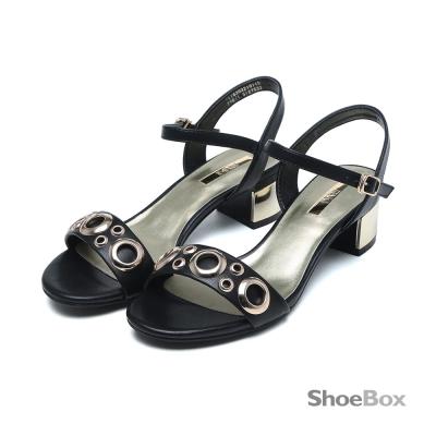 鞋櫃ShoeBox-自信光芒金屬圓環一字中跟涼鞋-個性黑