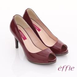 effie 都會風情 全真皮素面金色飾帶魚口高跟鞋  酒紅色