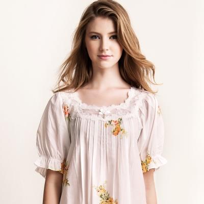 羅絲美睡衣 - 典雅印花短袖洋裝睡衣 (柔情粉)