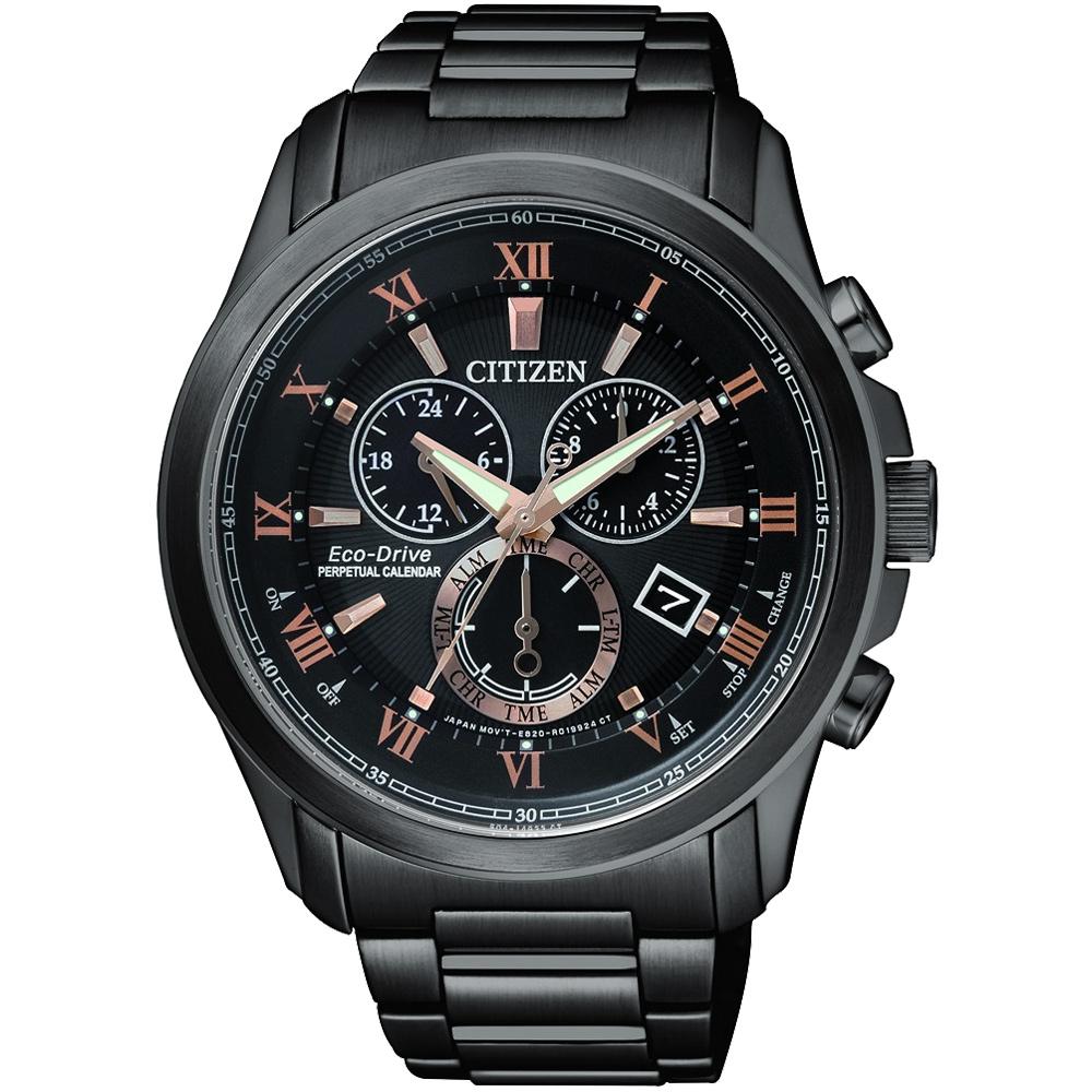 CITIZEN 亞洲限量光動能萬年曆腕錶(BL5545-50E)-黑x玫瑰金/43mm