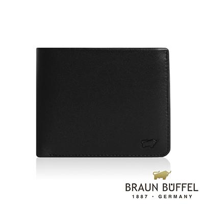 BRAUN BUFFEL 德國小金牛 - DELOS提洛斯系列8卡左上翻零錢皮夾 - 時尚黑