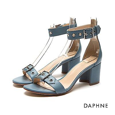 達芙妮DAPHNE 涼鞋-皮帶扣造型中粗跟一字涼鞋-藍