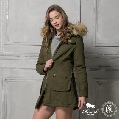 ROUSH 女生毛帽羔羊毛設計長大衣 (2色)