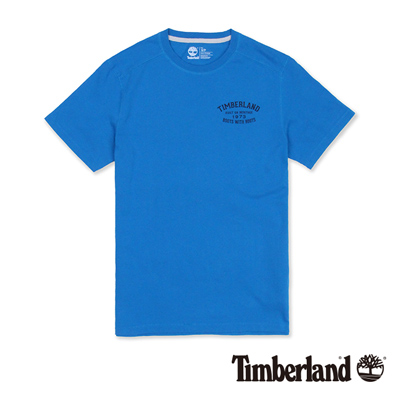 Timberland-男款藍色前後品牌印花短袖T恤