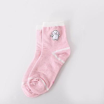 韓國可愛小白人綴條紋圖案短筒襪.4色(任3入198)-OB大尺碼