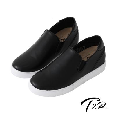 【T2R】韓國空運時尚皮質舒適內增高6公分樂福鞋-黑